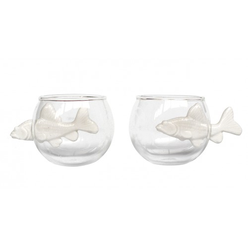 Round cup porcelain Set of 2