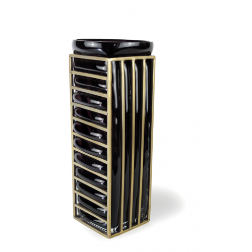 Vase STRIPE Black & Gold