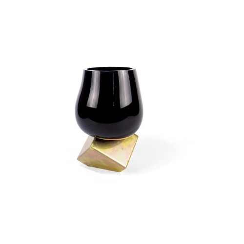 Vase CUT CUBE Black & Gold
