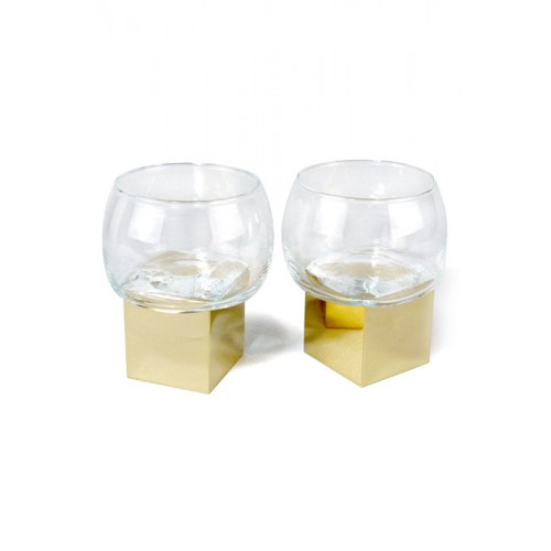 Verres Gravity Cube Low glass Set de 2